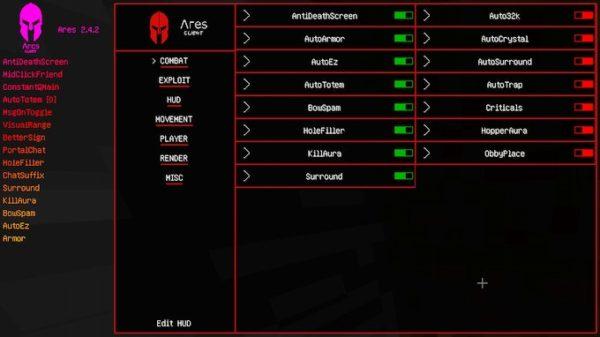 Ares чит-клиент Майнкрафт 1.12.2 / 1.16.5