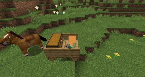 Новый транспорт Мод 1.16.5 (Тележка для коня)