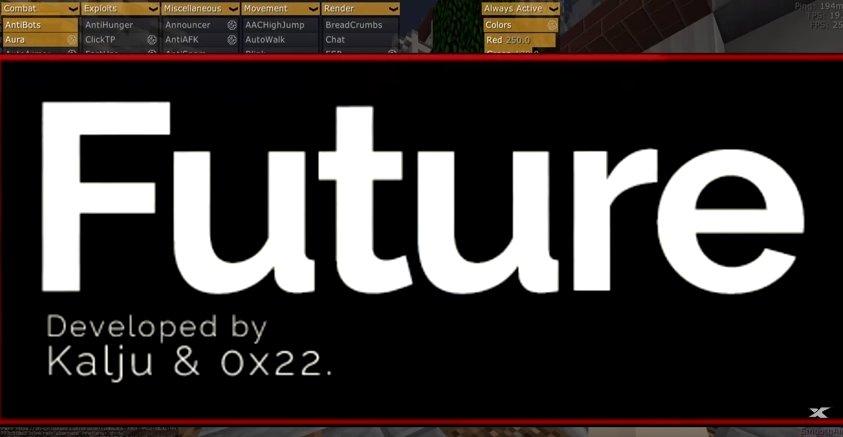Future взломанный чит-клиент для Майнкрафт 1.12.2